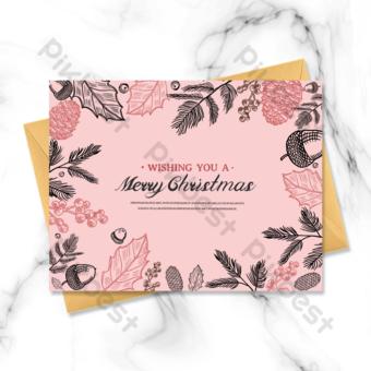 Carte de voeux joyeux Noël dessin au trait rose Modèle PSD
