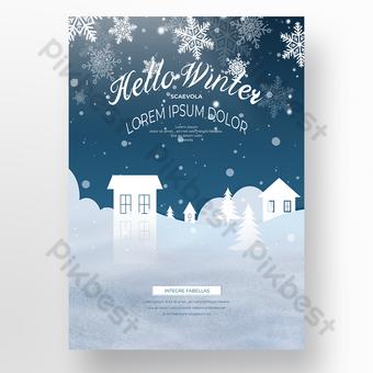 الشتاء ندفة الثلج ورقة قطع ملصق المنزل قالب PSD