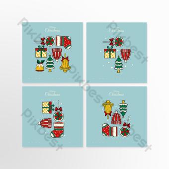 Carte de voeux carrée de Noël élégant et moderne Modèle PSD