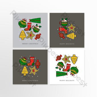 عيد الميلاد مربع رائع بطاقات المعايدة الرمادية قالب PSD