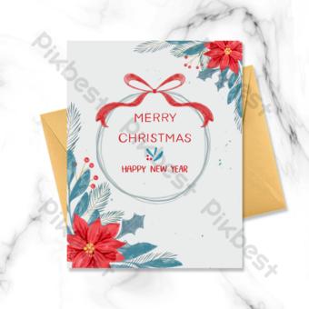 بطاقة عطلة عيد الميلاد الملونة قالب PSD