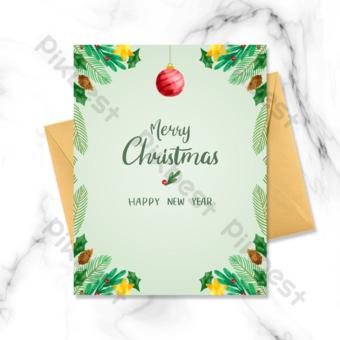 بطاقة عطلة عيد الميلاد الخضراء قالب PSD