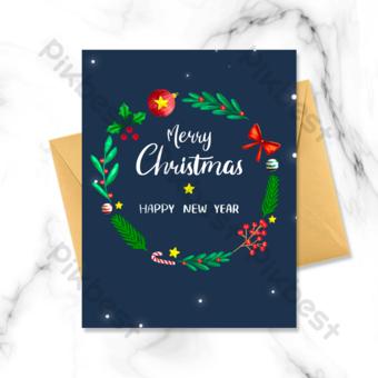 عيد الميلاد بطاقة عطلة زرقاء قالب PSD