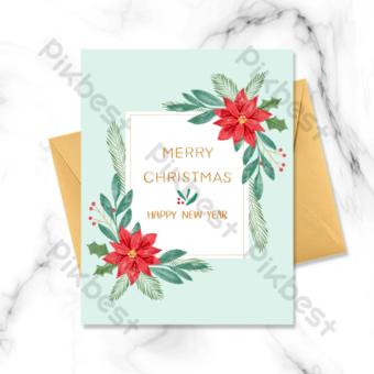 عطلة عيد الميلاد المائية بطاقات المعايدة قالب PSD