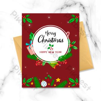 بطاقة عطلة عيد الميلاد الحمراء قالب PSD