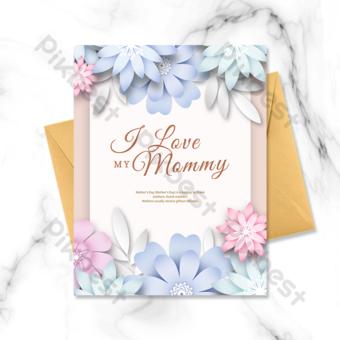 Carte de fête des mères de belles fleurs origami Modèle PSD