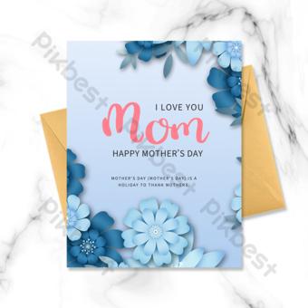 Carte de fête des mères fleurs origami dégradé bleu Modèle PSD