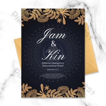 عناصر نمط الخلفية المظلمة الإبداعية دعوة الزفاف الهندي قالب PSD