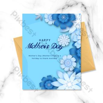 Carte de fête des mères bleu élégant origami fleurs Modèle PSD