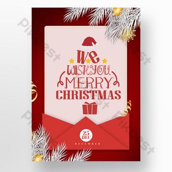 Affiche d'événement de carte de Noël rouge Modèle PSD