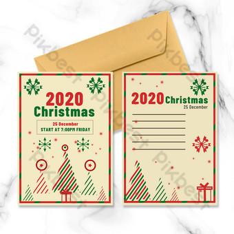 Carte de noël vintage rétro arbre de noël bleu rouge Modèle PSD