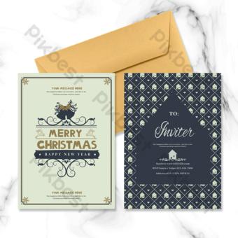 Carte de vacances d'éléments de Noël vintage Modèle PSD