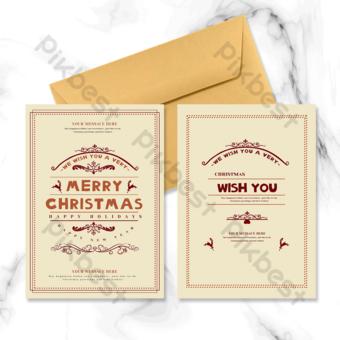 Carte de vacances de Noël vintage rétro Modèle PSD