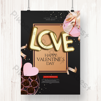 Creative golden senior valentines day holiday poster Template PSD
