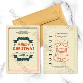 خمر عيد الميلاد الجرس نمط بطاقة عطلة قالب PSD
