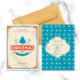 Carte de vacances rétro motif arbre de Noël Modèle PSD