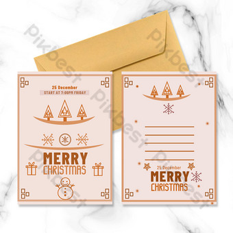 Carte de Noël vintage rétro arbre de Noël bonhomme de neige orange Modèle PSD