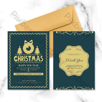 الرجعية عيد الميلاد يرغب بطاقة عطلة قالب PSD