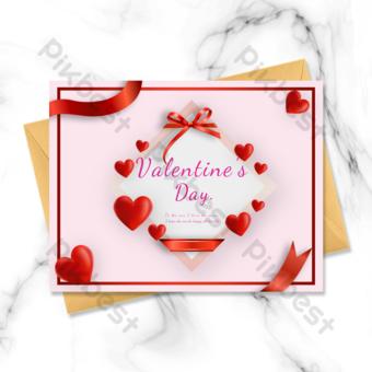 Carte de voeux Saint Valentin amour frontière rouge Modèle PSD