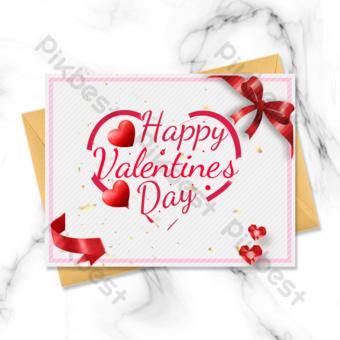 Carte de voeux Saint Valentin ruban coeur amour rouge Modèle PSD