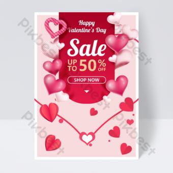 Flyer de valentine origami coeur d'amour rouge Modèle PSD