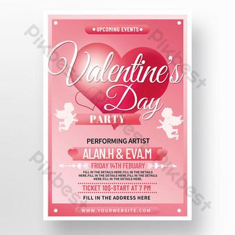 Cartel de la fiesta del día de San Valentín del amor de cupido exquisito romántico rosado retro Modelo PSD