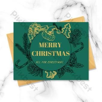 Carte de voeux joyeux Noël dessiné à la main lineart Modèle PSD