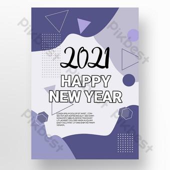 Geometría abstracta de forma púrpura simple 2021 feliz año nuevo Modelo PSD