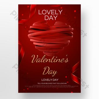 cartaz texturizado de fita vermelha de amor dia dos namorados Modelo PSD