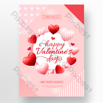Pink heart shaped love valentines day event poster Template PSD