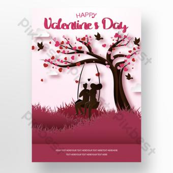 Cartel de promoción de vacaciones de pareja dulce romántica. Modelo PSD