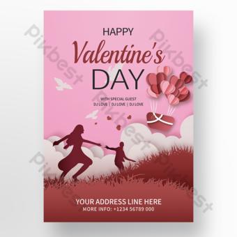 Cartel de promoción de vacaciones de pareja romántica rosa Modelo PSD