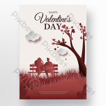 Cartel de promoción de vacaciones de pareja romántica dulce Modelo PSD