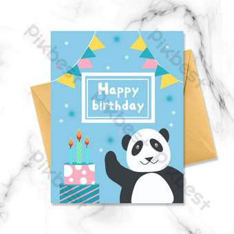 عيد ميلاد سعيد الكرتون بطاقة عيد ميلاد لطيف الباندا قالب PSD