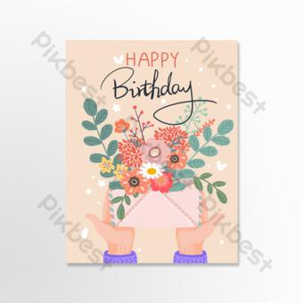 Carte de voeux de fleurs de cadeau d'anniversaire Modèle PSD