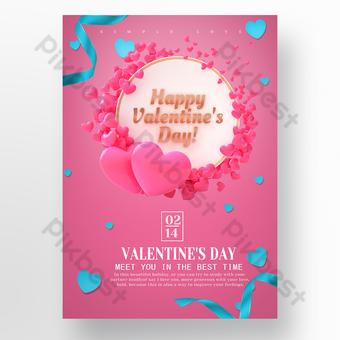 عيد الحب الرومانسي على شكل قلب ملصق ترويج العطلة قالب PSD