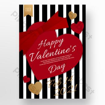 Cartel del día de san valentín a rayas de tarjeta en forma de corazón rojo Modelo PSD