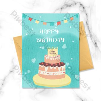 Carte de voeux de dessin animé joyeux anniversaire gâteau Modèle PSD