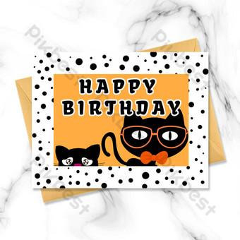 Carte d'anniversaire de chat de dessin animé Modèle PSD