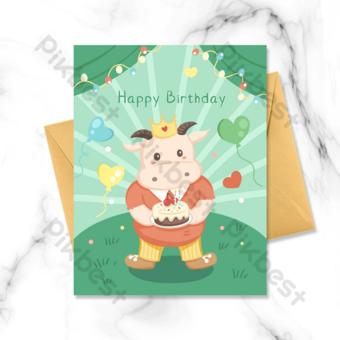 kartun kartu anak sapi selamat ulang tahun Templat PSD