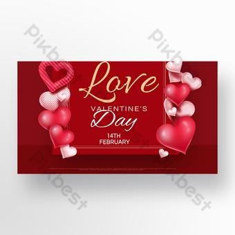 bannière de promotion de la saint valentin carte rouge Modèle PSD