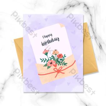 joyeux anniversaire carte de voeux enveloppe florale Modèle PSD