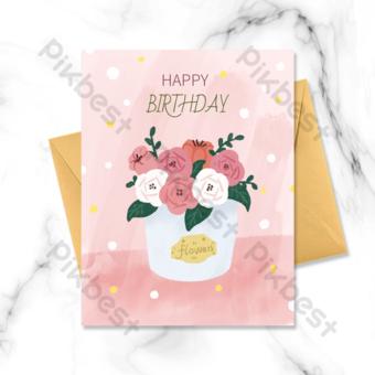 carte d'anniversaire floral de dessin animé Modèle PSD
