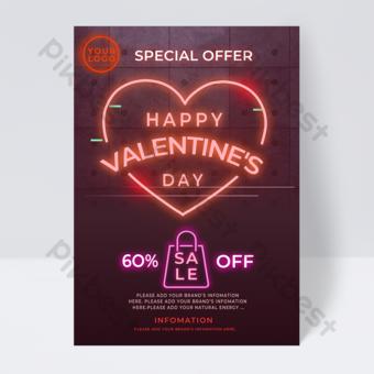 flyer promotionnel de la saint valentin élément en forme de coeur néon Modèle PSD