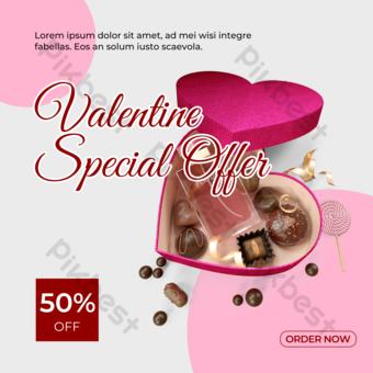 خلفية رمادية اللون الوردي الشوكولاته قالب PSD