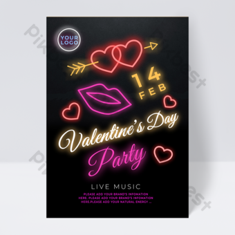 Lip print love neon element valentines day party flyer Template PSD