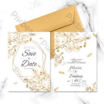 invitación de boda simple borde dorado Modelo PSD