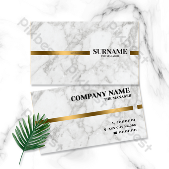 خطوط التدرج الذهبي بسيطة بطاقة الأعمال المكتبية نمط الرخام قالب PSD