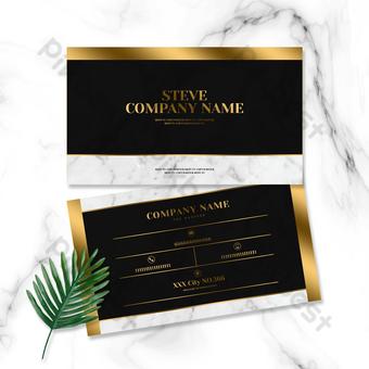 الذهب الأسود نمط الرخام مكتب الأعمال بطاقة قالب PSD