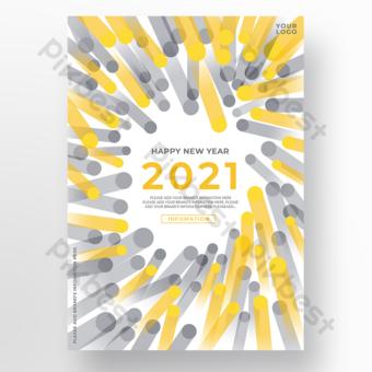 السنة الجديدة اتجاه اللون الأصفر قالب ملصق رمادي قالب PSD